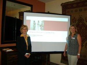 Lori Hanson Smiling with Buffy Ransom after Speaking for Oracle Women's Leadership Program